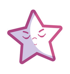 Silhouette kawaii angry and cute star design vector