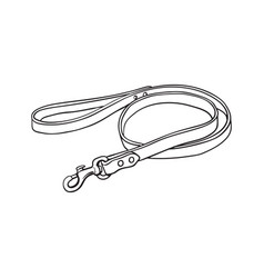 Simple pet cat dog brown leather leash vector