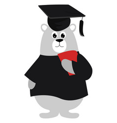 small bear on white background vector image