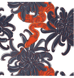 snake and flowers pattern contrst red snake and vector image