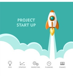 Start up project Rocket ship vector