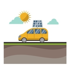 Sun solar energy electric car vector image