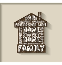 Sweet home wood plate with sign object vector image