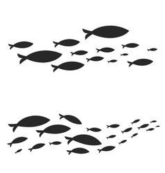 Swimming cluster of graphic fish vector
