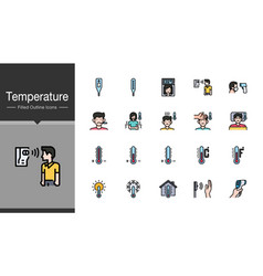 temperature icons filled outline design for vector image