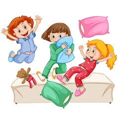 Three girls playing pillow fight at the slumber vector