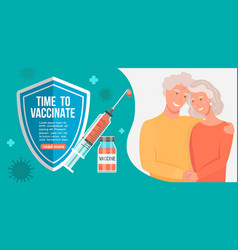 time to vaccinate grandparents banner vector image