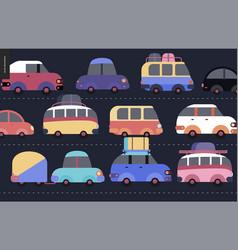 Traffic jam scene vector