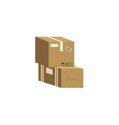 two brown cardboard boxes stacked on each other vector image