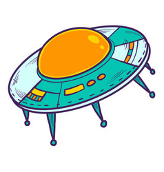 ufo space ship icon hand drawn style vector image