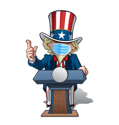 Uncle sam presidential podium grave - surgical vector