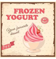 Vintage banner frozen yogurt vector