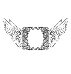 Vintage frame with wings vector