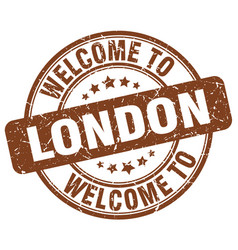 Welcome to london brown round vintage stamp vector