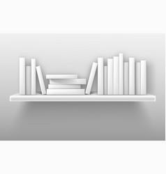 White bookshelf mockup books on shelf in library vector