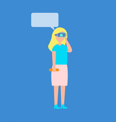 Woman in virtual reality glasses chatting vector