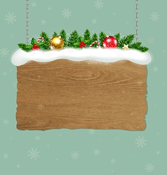 Wooden Sign With Fir Tree vector image
