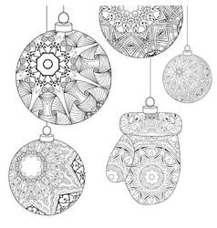 zentangle stylized christmas decorations hand vector image vector image