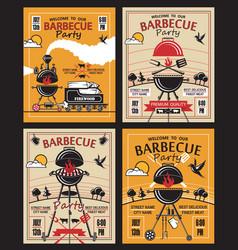 barbecue party invitation set vector image vector image