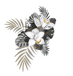 monochrome composition with exotic plants two vector image vector image