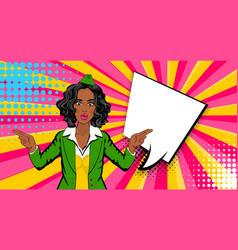 pop art comic sexy black shocked stewardess vector image vector image