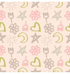 seamless pattern with stars hearts sun moon vector image