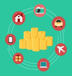 Set icons shopping Money concept vector image