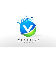 v letter logo blue green splash design vector image