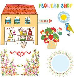 Set for flowers shop - vase bunchs frames bows vector image vector image
