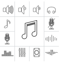 set of outline music icons linear vector image