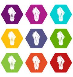 bulb sticker icon set color hexahedron vector image vector image