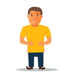 Cartoon Character in Yellow t-shirt vector image vector image