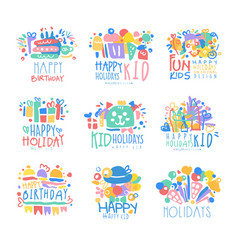 kid holidays happy birthday logo template vector image vector image