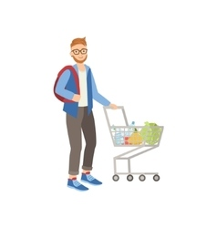 Man With Backpack Shopping For Food In Supermarket vector image vector image