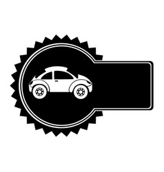 monochrome circular emblem with sports car in side vector image