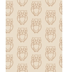 Seamless pattern with brown owls silhouettes vector