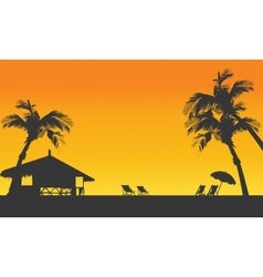 Sunset summer silhouette with hut vector image vector image