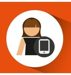 woman avatar smartphone call digital icon vector image