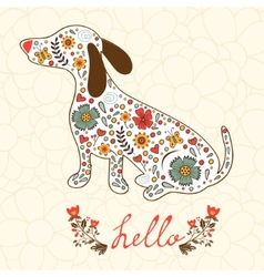 Concept hello card with floral badger dog vector image