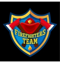 Firefighter emblem label badge and logo on white vector image