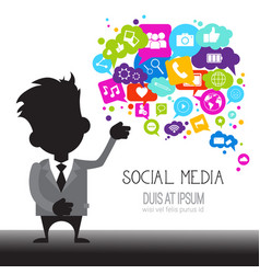 Man with chat bubble of social media icons network vector