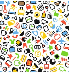 Pixel icons seamless background vector image vector image