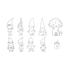 Set of cute cartoon gnomes Funny elves Hand vector image vector image