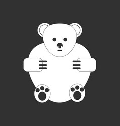 White icon on black background teddy bear vector