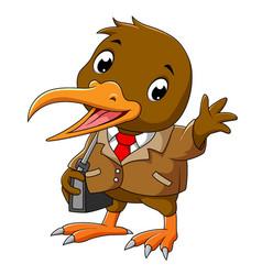 A happy kiwi bird in business suite vector