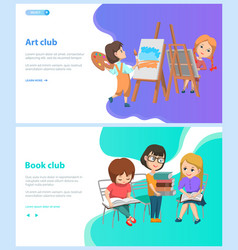 Art and book club children at school webpage vector