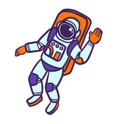astronaut icon hand drawn style vector image