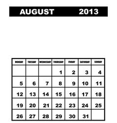 August calendar 2013 vector