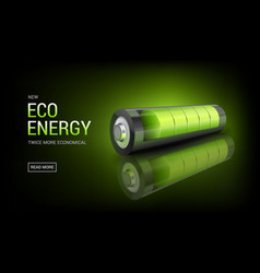 Banner with realistic 3d green battery vector