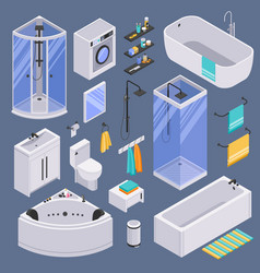 bathroom isometric set background vector image